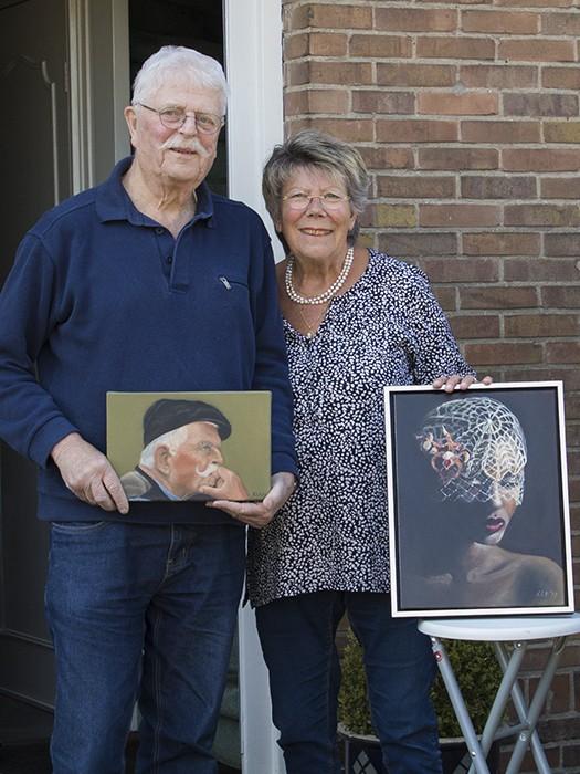 voordeur portret ouderen schilderij